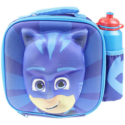PJ Masks 3D Thermal Insulated Kids School Lunch Bag Box With Bottle Drink Set