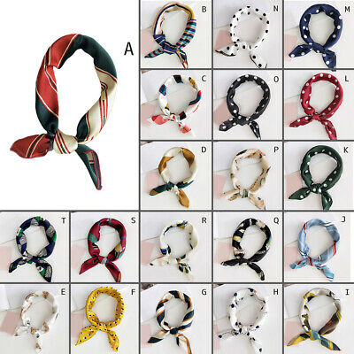 Elegant Women Silk Head Neck Satin Scarf DIY Hair Tie Band Small Square Scarf