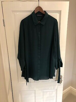 649e3fa4282 MADELEINE DARK GREEN collared button up pleated long sleeve shirt ...