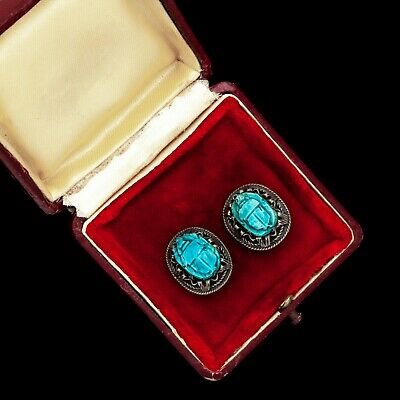 Antique Vintage Deco Sterling Silver Egyptian Mummy Faience Scarab Bead Earrings
