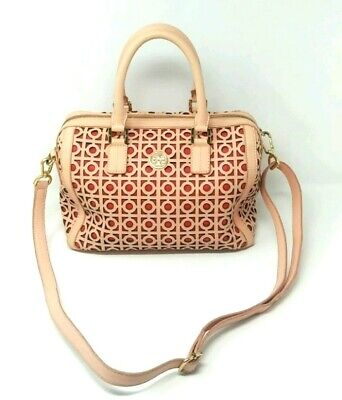 b505c3208c17  575 Rare Tory Burch Kelsey Middy Perforated Satchel in Shell Pink   Poppy  Red