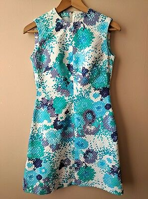 60s vintage mod shift dress 10 cotton gogo blue green purple floral patterned