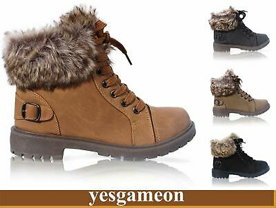 Kids Girls Faux Fur Grip Sole Winter Warm Ankle Boots Trainers Shoes Xmas Gift