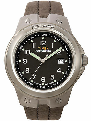 """Timex T49631, Men's """"Expedition"""" Brown Leather Watch, Indiglo, Date"""