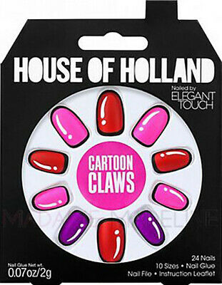 1 x Pack House Of Holland False Nails - Cartoon Claws (24 Nails), Elegant Touch