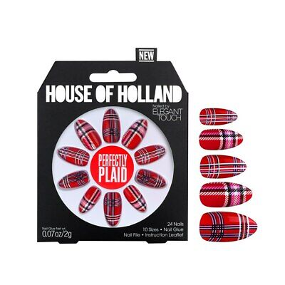 1 x Pack House Of Holland False Nails - Perfectly Plaid (24 Nails) Elegant Touch