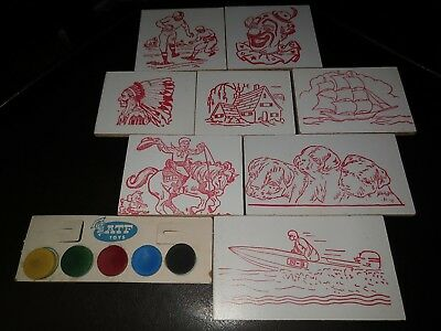 Vintage 9 Pc. Atf Toys Wood Burning Boards Water Color American Toy & Furniture