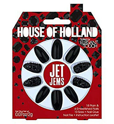 1 x Pack House Of Holland False Nails - Jet jems (24 Nails) Elegant Touch