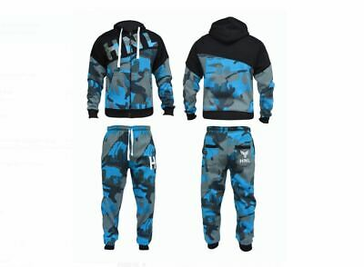Men HNL Projection Camouflage Zip Hooded Top and Bottom Track Suit Gym Suits New