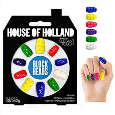 1 x Pack House Of Holland False Nails - Block Heads Lego 24 Nails Elegant Touch