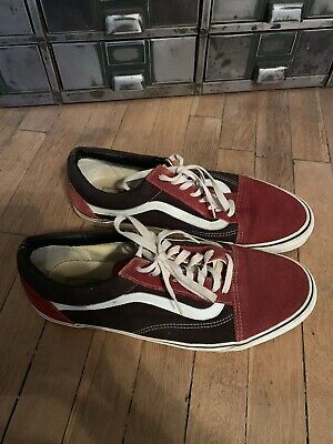 dfdbca164d6a45 RARE VANS OLD Skool Charcoal Brick Red Suede Canvas Men s 13 Shoes ...