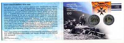 Estonia 100 Independence War Defence League & Forces 2x2 Euro 2018 Coin Card UNC