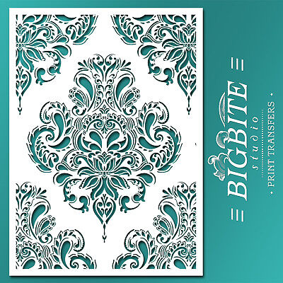 Shabby Chic STENCIL: Damask Doodle Wallpaper Pattern (DIY Furniture Print) #044