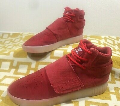 new product 782ed d391a ADIDAS ORIGINALS TUBULAR Invader Strap Red Mens Sz 9.5 Suede Sneaker BB5039