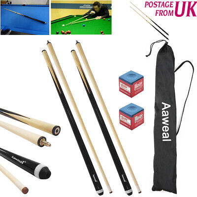 "58"" Billiard Pool Cue Stick Hardwood 12oz Snooker pool free case and tip chalk"