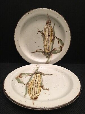 """2 STONEHENGE MIDWINTER MAIZE 7"""" Bread and Butter Plates Corn Excellent Condition"""