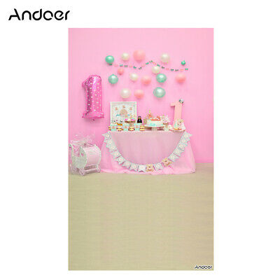 Andoer 1.5 * 0.9m/5 * 3ft First Birthday Party Photography Background Pink Q3H0
