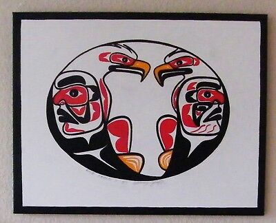 * Male & Female Eagles * Original Signed And Dated Westcoast Salish Painting