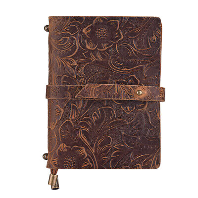 Leather Notebook Pad Embossed Travel Diary Paper Journal Sketchbook Vintage H3H3