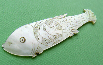 Antique Large Fat Sewing Thread Winder,pearl Fish Engraved Kissing Doves Scales