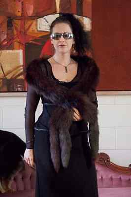 Luxe 7ft BOA FUR STOLE Russian sable 4tails Vintage Designer wrap scarf fox mink