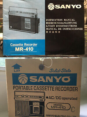 Vintage Sanyo Cassette Recorder Mr-410 Instruction Manual And Box Original