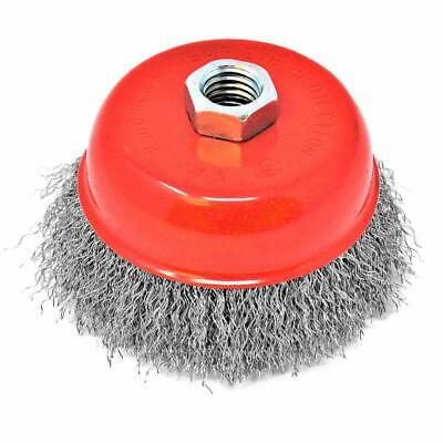 """4"""" Untwisted Wire Cup Brush For Angle Grinder 5/8""""-11 Arbor Knotted Type Crimp"""