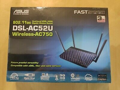 Asus DSL-AC52U Dual Band Wireless-AC750 VDSL/ ADSL2+/ NBN/ FIBRE Model Router