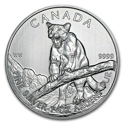 2012 $ 5 Dollars Canadian Cougar (Wildlife Series) 1 oz .9999 Silver Coin