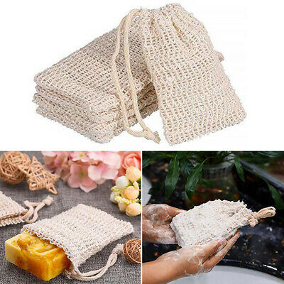 Durable 5X Soap Bag Cotton And Linen Soap Saver Bag Bath Drawstring Mesh Bag AU