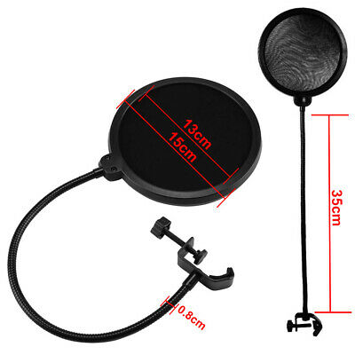 "Black Double-Layer 6"" Microphone Pop Filter Windscreen Mask Shield UK"