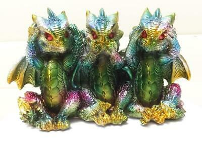 14cm  WISE DRAGONS FIGURINE STATUE MULTI COLORS METALLIC EFFECT POLY RESIN