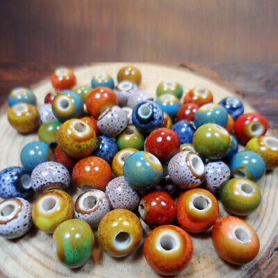 100Pcs Beads Ceramic Porcelain For Jewelry Making Necklace Colorful 6mm Vintage