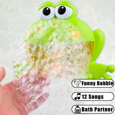 AU Kid Baby Bubble Tub Frog Automatic Shower Machine Blower Maker Bath Music Toy