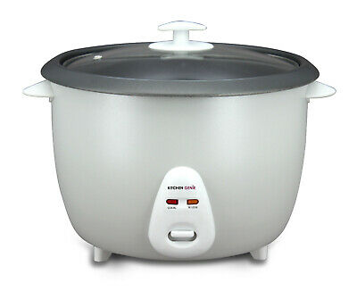 Kitchen Genie Deluxe Rice Cooker Steamer Glass Lid 16 Cup 2.8 Litre 1000W Silver