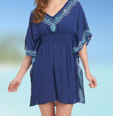 f064fcd8a7205 *Dotti Smocked Embroidery Detail Side Drape Caftan Swim Coverup Small Navy  NWT