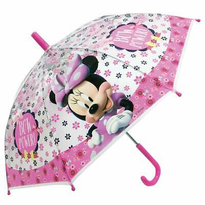 Disney Minnie Mouse Clear Pink Umbrella Licensed Kids Childrens Poe Embossed