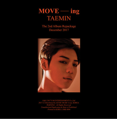 "K-POP SHINEE TAEMIN 2nd Repackage Album ""MOVE -ing"" Official - 1 Photobook + 1CD"