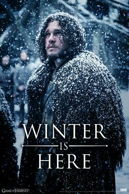 Laminated Game of Thrones Jon Snow Winter is Here Sign Poster 12x18 Inch