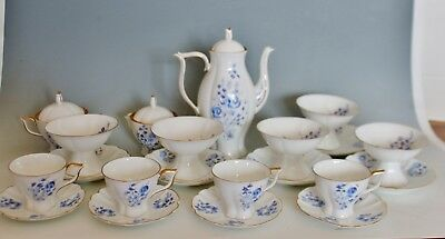Jiesia Luthuanian Fine Bone China Coffee Demitasse Set Cups Saucer Pot Blue Gold