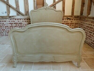 """Antique original French painted rustic 4ft 6"""" double bed with carved detailing"""