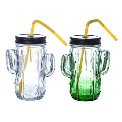 Set of 6 450ml Cactus Glass Mason Party Drinking Jars with Handle Lid & Straw