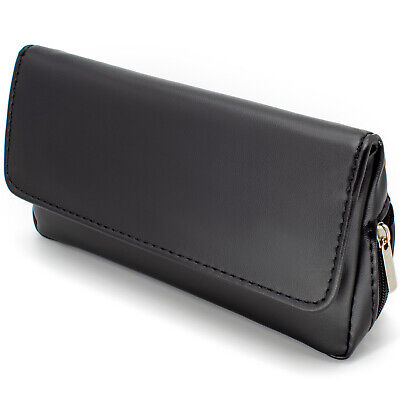 Soft Black Nappa Leather Tobacco Pouch with Pipe compartment - Holds 50g