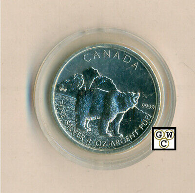 2011 -  5 Dollars 1oz.  Silver Grizzly Bear .9999 Fine Coin  (12806)