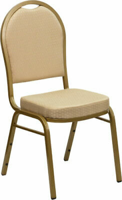 10 PACK Banquet Chair Beige Patterned Fabric Restaurant Chair Dome Back Stacking