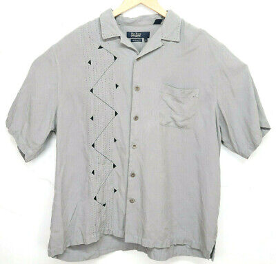 945624a471c4 MEN'S Nat Nast Size Gray Short Sleeve Camp Shirt Geometric 100% SILK - XL