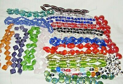 Lot 18 Jewellery Maker Craft Glass Beads Lampwork, Wedding Cake Foil, Aventurine