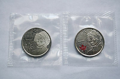 Lot of 2 Canada 25 cent 2013 War of 1812 Laura Secord (Red and no color) Sealed