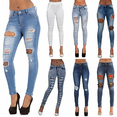 Womens Ripped Jeans Skinny High Waisted Jeggings Stretchy Pants Ladies Leggings