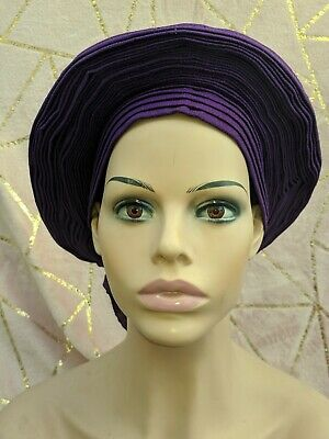 Auto gele purple colour carefully pleated handwoven cotton  ready to wear